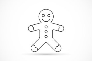 Gingerbread thin line icon
