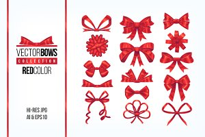 Set of red bow knots elements