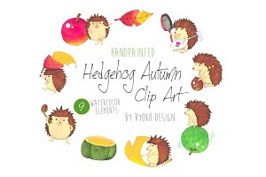 Cute Watercolor Hedgehog Clip art