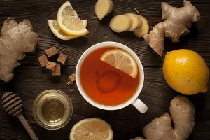 Hot tea with ginger and lemon.