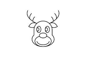 Reindeer Christmas thin line icon