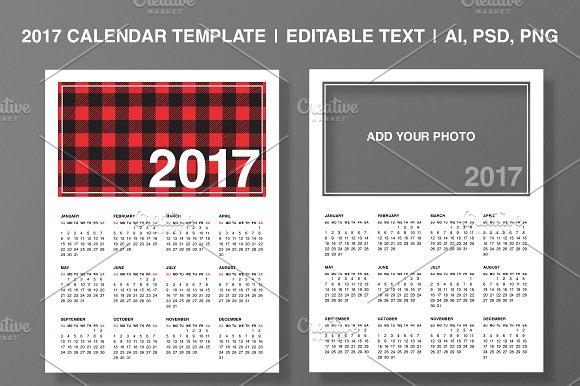 2017 Calendar Template Editable Text Stationery Templates