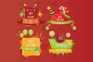 Set of Christmas design elements.