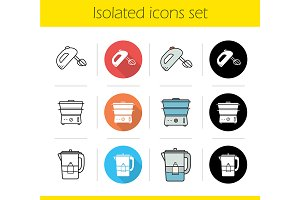 Kitchen appliances. 12 icons. Vector