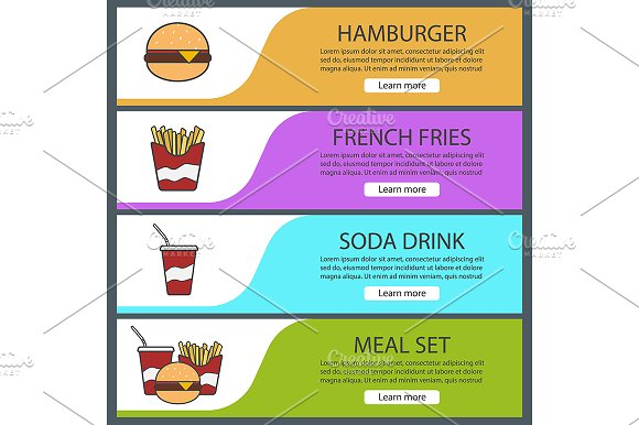 Fastfood banners. Vector - Product Mockups