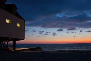Beach pier sunset