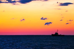 Fishing ship at sea