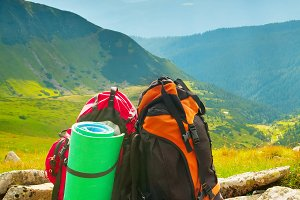 Backpacks in the mountains
