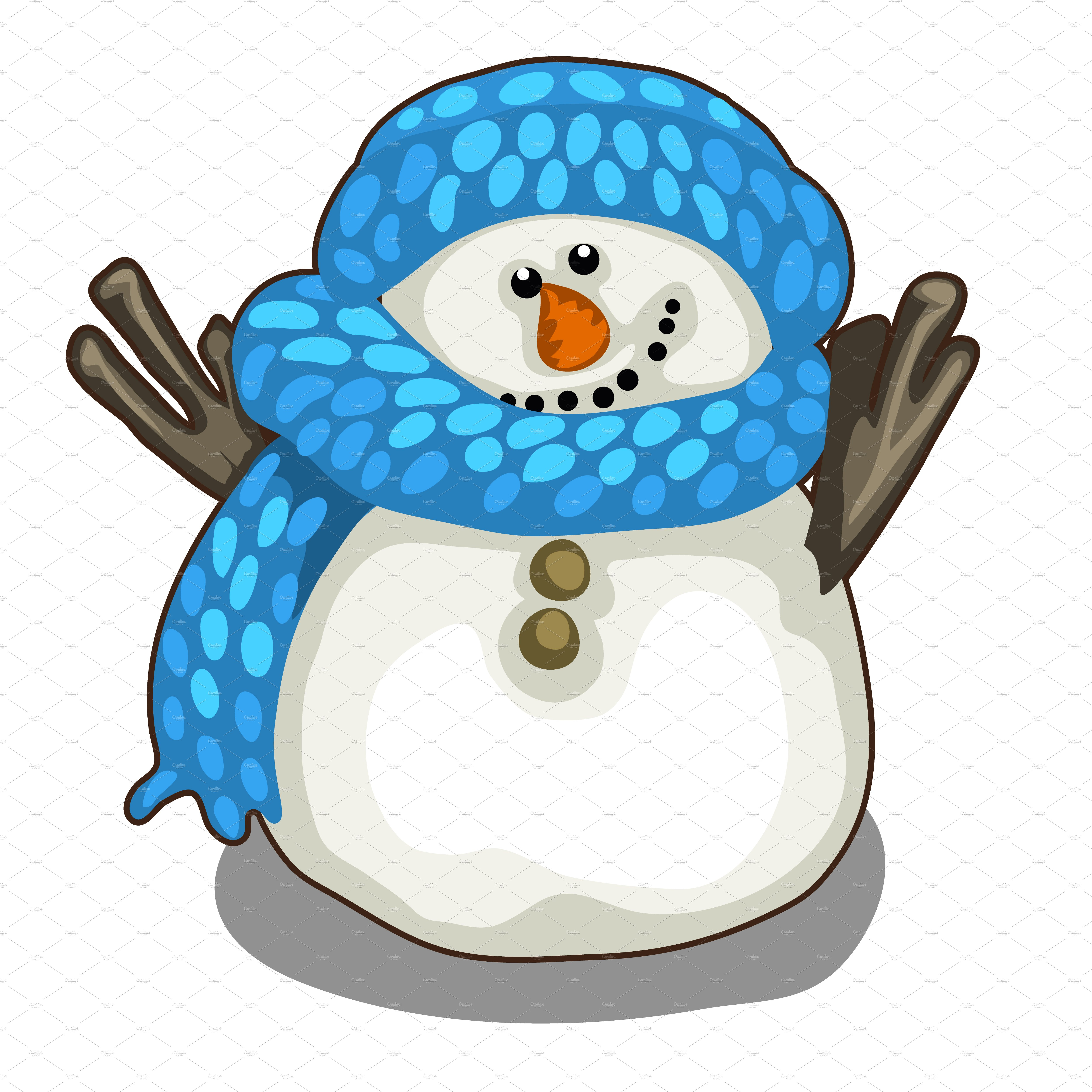 Cute Snowman In Blue Scarf And Hat