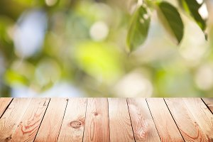 Empty table with bokeh background