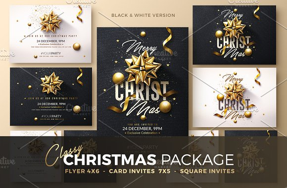 christmas invitation psd package templates creative market
