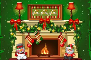 Burning Christmas fireplace