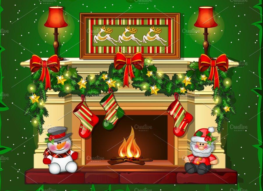 Burning Christmas fireplace