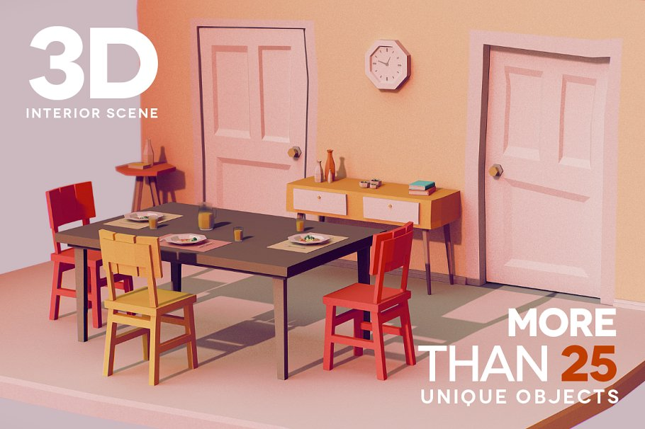 LOW POLY INTERIOR [25+ UNIQ OBJECTS] ~ 3D Furniture Models ...