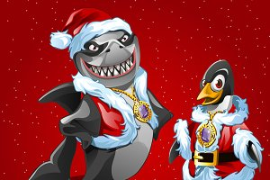 Shark and bird in costume of Santa