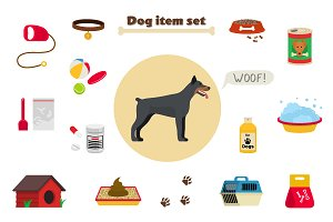 Dog care item set, object and staff