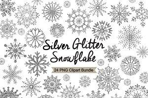Silver Glitter Snowflake Clipart