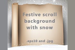 Festive scroll background with snow