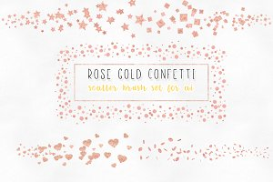 rose gold confetti brushes