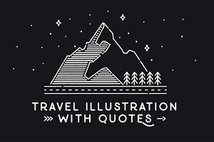6 Travel illustrations with quotes