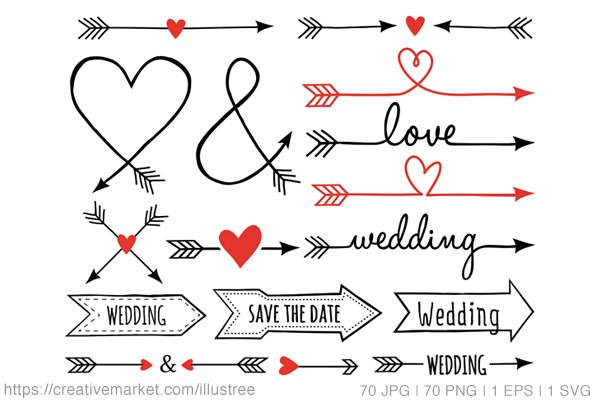 70 wedding arrows clip art set
