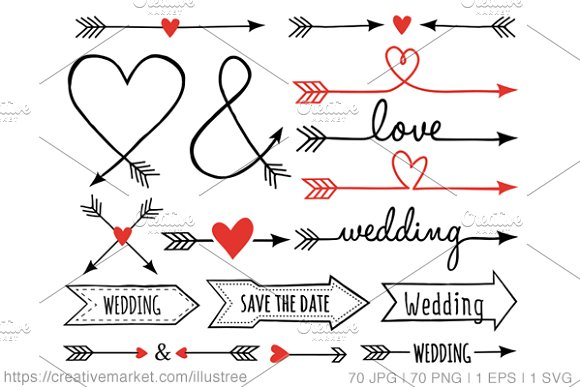 Classroom Design Arrow Or X ~ Wedding arrows clip art set icons on creative market