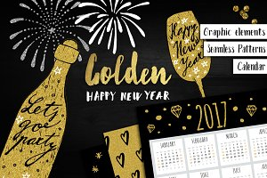 Golden Happy New Year set