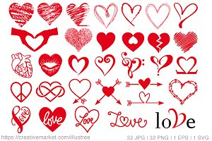 32 heart designs vector set