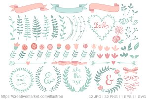 70 floral laurel wreaths, vector set