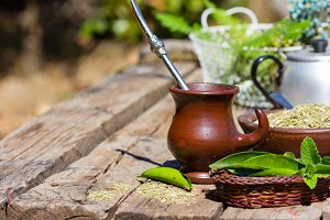 Herb yerba mate traditional tea of Latin America