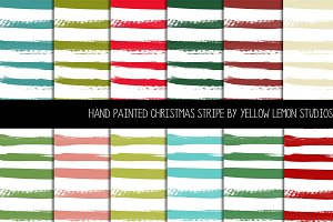 Hand painted Christmas Stripe