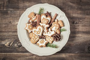 Christmas cookies in a plate