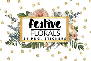 Festive Florals // stickers