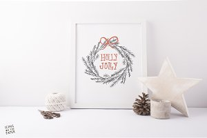 Holly Jolly Holiday Wreath Print