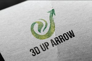 E - 3D Up Arrow Elegant and Stylish