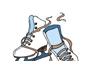 Hand drawn vector figure skates