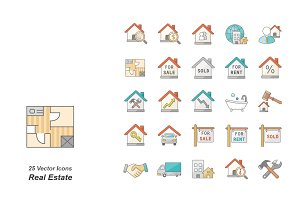 Real Estate color vector icons