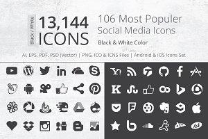 212 B/W Social Media Icons