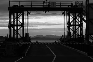 Ferry Dock at Sunset Black and White