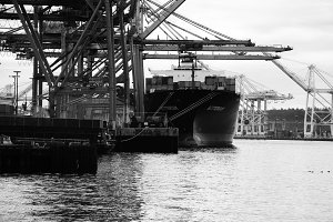 Cargo Ship Loading Black and White