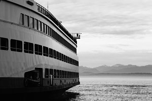 Ferry Boat Black and White