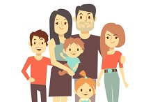 Cute cartoon family characters