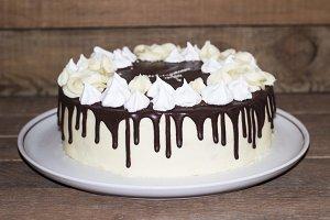 Round homemade cake