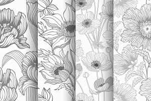 set of seamless monochrome flowers