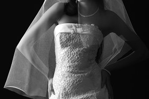 young bride with dark hair