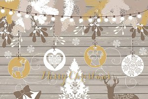 Wood Christmas clipart
