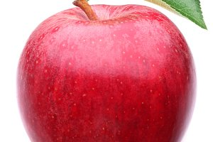 Red apple with leaf on a white