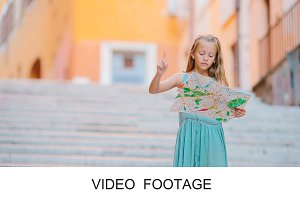 Adorable girl touristic map in Italy