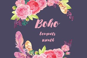 Boho watercolor bouguets