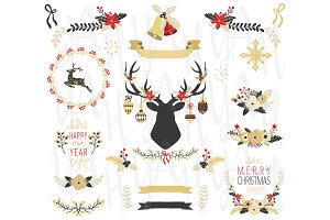 Gold Christmas Elements Set